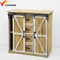 antique small wood sliding door cabinet