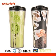 24oz Double Wall Plastic Paper Insert Travel Mug With Lid