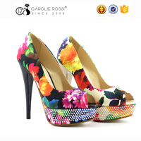 yellow flower high heel dress shoes diamond platform apparel party shoes