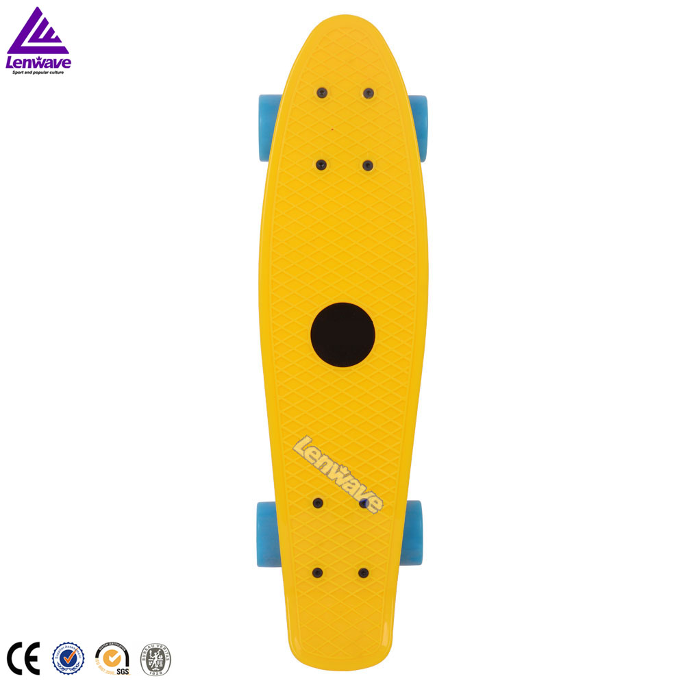 Fish skate board 22x6'' yellow plastic skateboard