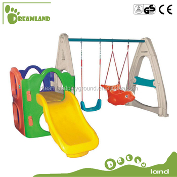 New style backyard plastic slide and swing set