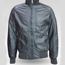 Mature men's clothing manufacturer moto leather jacket with bottom elastic