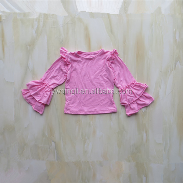 Factory New Design Boutique Wholesale Infant Baby Double Ruffle Long Sleeve Top For Autumn