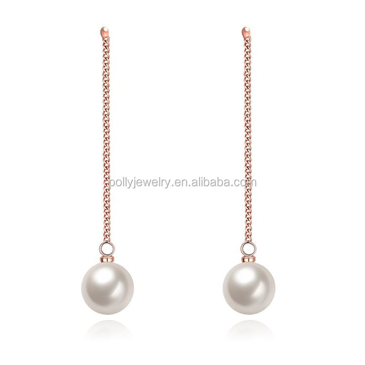 The New Korean Fashion Jewelry OL Temperament Long Pearl Earrings