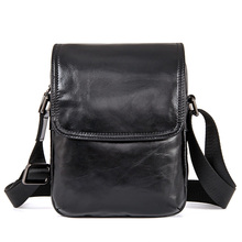 1031A Black Real Cow Leather Simple Design Men's Sling Bag Small Messenger Bag