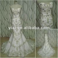 JJ2656 gold embroidery mermaid wedding dress 2014
