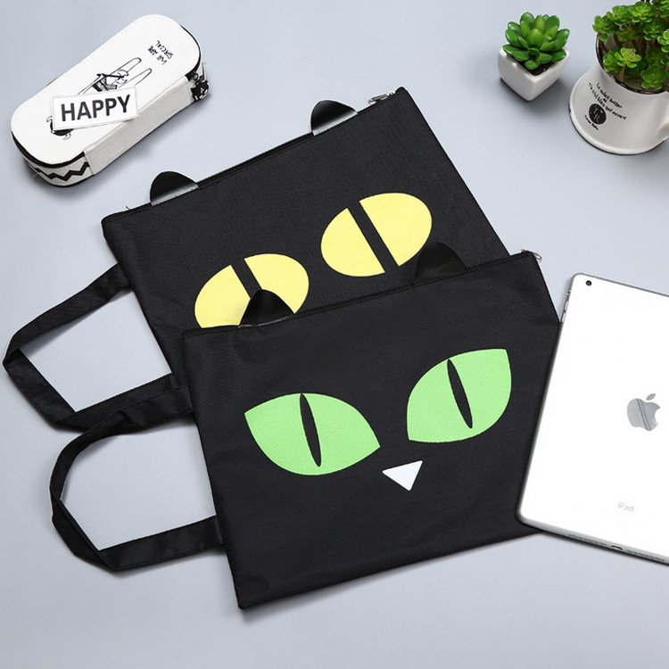 Cute Cat A4 Bag Fabric File Folder For Documents Stationery Document Bag School Suppliers