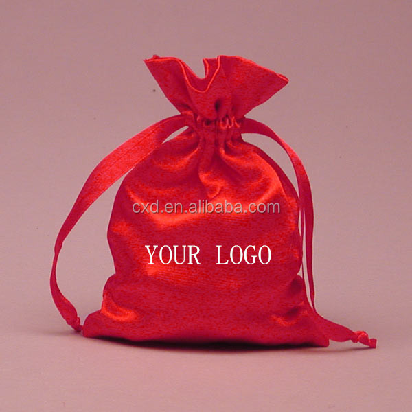 Custom logo silk satin bags hair,hair extension bags,jewelry gift bag satin