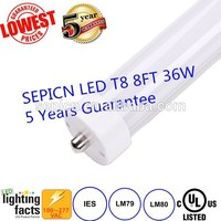 Clear/Milky/Frosted Cover LED Tube Light T8 Lamp 8ft 36W 2.4M UL cUL Listed 5 Year warranty