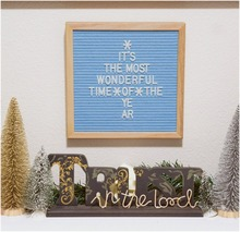 2018 wholesale Oak metarial wooden craft slotted letterboard black blue felt plastic letter board sign including 45 emojis