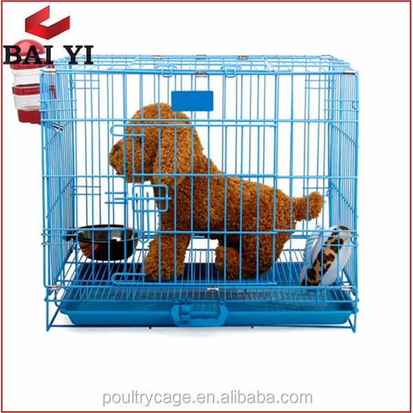 Collapsible Steel Dog Crate, Foldable Wire Dog Crate, Welded Wire Dog Crate With Plastic Tray