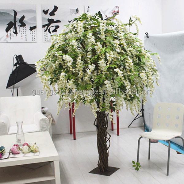 SJ15001011 Artificial fake coral flowers white wisteria tree for organment