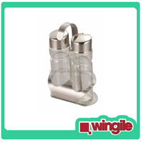 high quality 2 Glass Bottles Stainless Steel oil vinegar cruet set with Holder