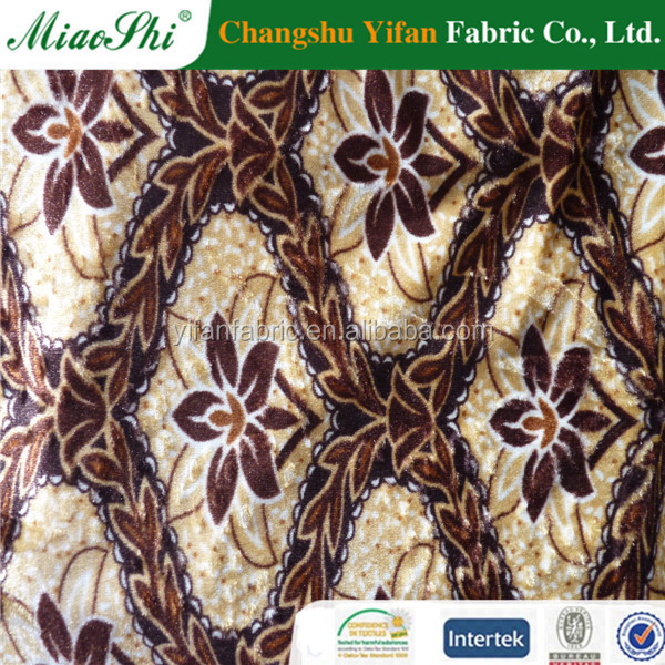 Merchandise factory direct produce weft knitting printed velvet sofa fabric for upholstery