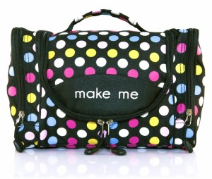 Dot Printing Fashion Lightweight Hanging Toiletry Bag Polyester Make UP Bag Organizer Unique Hanging Travel Toiletry Bag