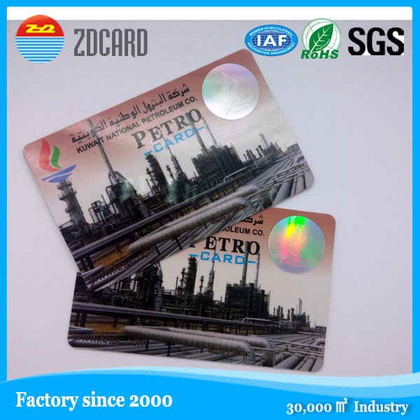 factory information safe PVC card with holigram sticker