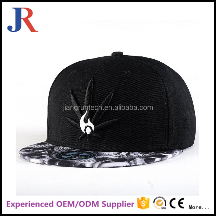 Custom 100% cotton black under floral flat brim print snapback hat