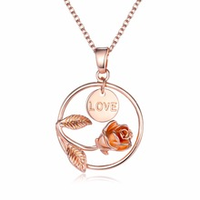 2018 Most Popular Gold Jewellery Necklace Dainty Rose Circle Necklaces Love Engrave Disc Necklace Valentines Jewelry Gift