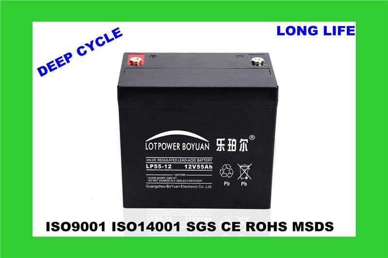 off grid hybrid solar wind power system battery lead acid type solar power plant battery LP55-12 maintenance free agm battery