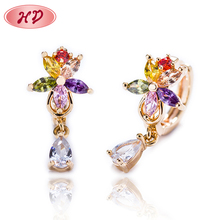 2018 Color Zircon Indian Long Clip Gold Bali Earrings Designs