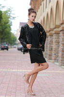 Lady Bright Black Lamb Leather Sheepskin Coat Garment With Tassels Decorated
