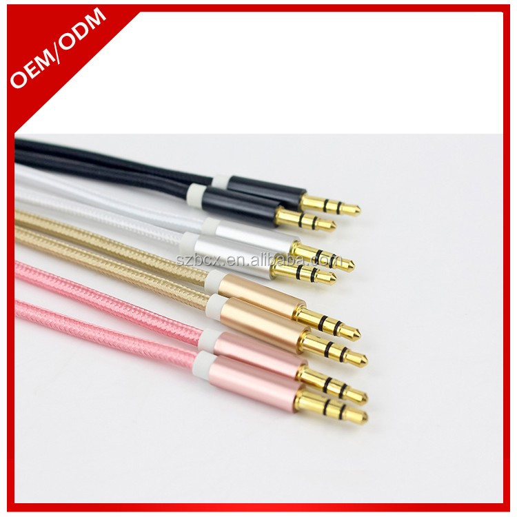Gold Plated Metal Shell Alloy 3.5mm Audio Male to Male Car Aux Stereo Cable