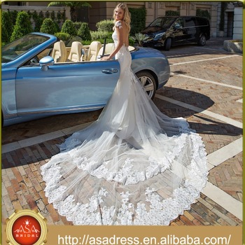 ASWY10 Sexy Mermaid Transperant Back Lace Train Bridal Wedding Dresses Online