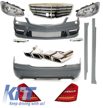 Complete Facelift AMG Body Kit W221 S-Class 2005-2009 Bumper Headlights Exhaust Tips