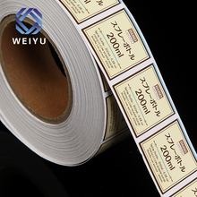 Custom synthetic paper waterproof full color printed roll adhesive cosmetics sticker label for bottle