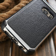 for Samsung S7 Cases, New Design Metal+Leather Case for Samsung Galaxy S7 S7 edge