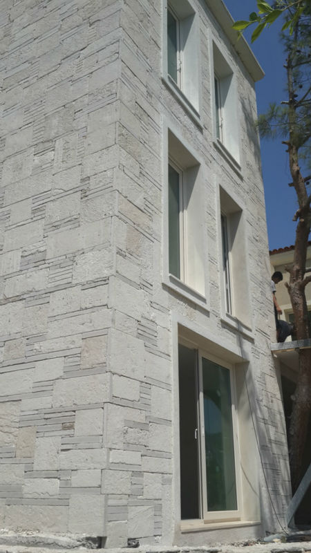 WHITE SLATE STONE CULTURE STONE CRAZY PAVING WALL CALDDING