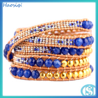 Top brand jade bead leather bracelet,double wrap hand made bracelet,wrap around bead bracelet