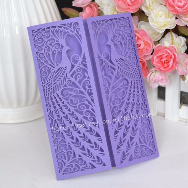 Wedding invitation card wholesale laser cut fancy peacock wedding invitation card