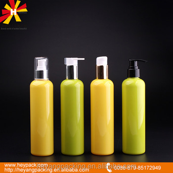 customized 300ml cosmo shape solid color pet lotion pump bottle