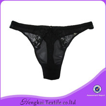 Black net transparent g-string