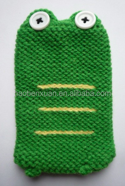 Knitted Cell Phone Case - Frog