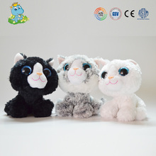 ICTI New Design big eyes cat soft plush toy manufacturer