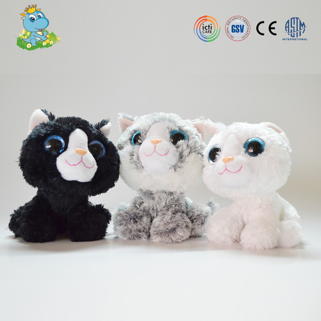 ICTI New Design big eyes cat soft plush toy manufacturer