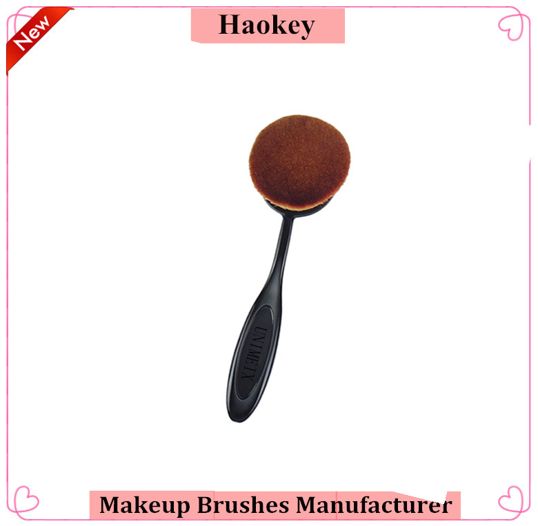 Tooth Make Up Brush Mermaid Private Label Oval Makeup Brush Set 10PCS Black Flexible Makeup Brushes