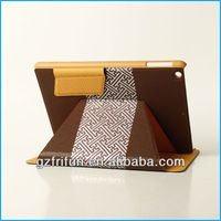 Brown PU stitching mid tablet pc case made in china