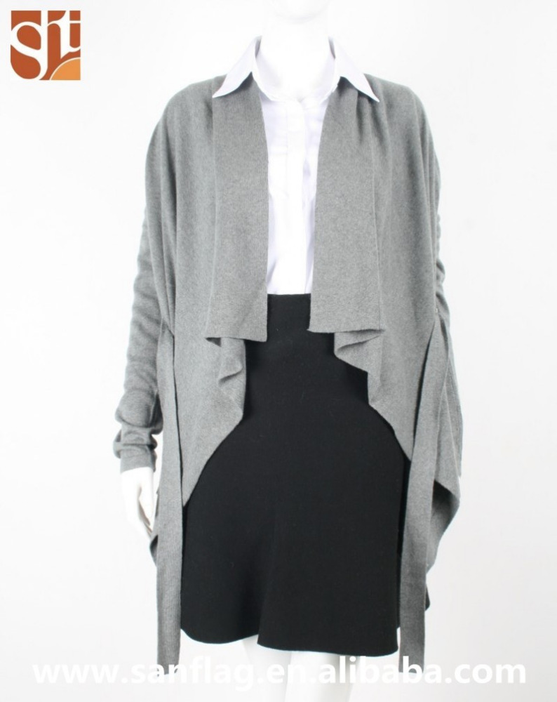 2016 Womens fashoable long sleeve cardigan wool/cashmere plain asymmetrical knit sweater dongguan manufacturer made in china