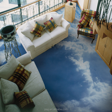 PAG large custom Realistic sky and white clouds 3D Removable Floor Stickers can be bespread of kids room decorative stickers