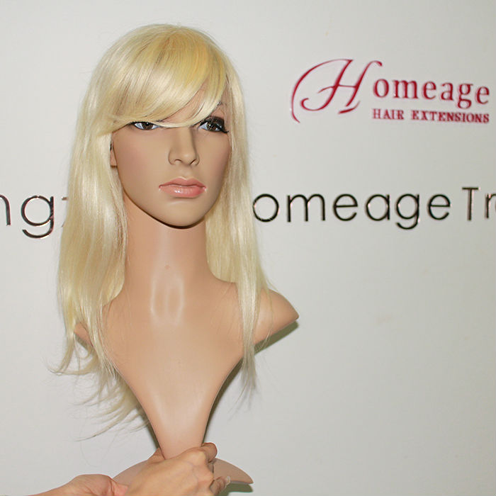 Homeage best european human hair blonde swiss lace wig