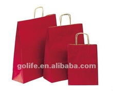 Hot sale paper gift bags with ribbon handles