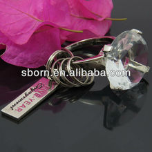Valentine's Gift Sweet Faux Diamond Finger Ring Crystal Keychain Wedding Favor