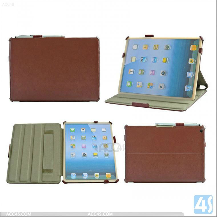 2014 Hand Holder Stand Tablet LeatherCase with Pen for Apple iPad air P-IPD5CASE008