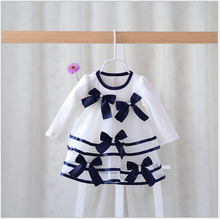 S30728W Latest fashion little girls princess dress color contrast grenadine lovely bowknot dreaming dress