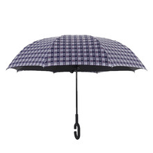 Superior quality 190t nylon with black coating custom print lattice reverse umbrella