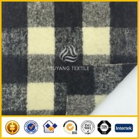 High quality brushed Check & plaid wool fabric/woolen fabric for coats
