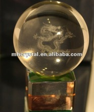 3D Laser Engraved Chinese Dragon Optical Crystal Ball MH-Q0069